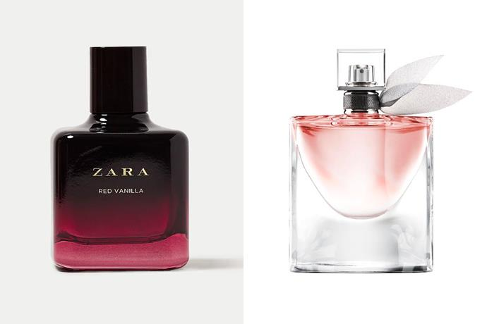 """**Zara Red Vanilla EDP and Lancôme's La Vie Est Belle** <br><br> Another fruity floral scent, Zara's Red Vanilla and Lancôme's La Vie Est Belle seem to walk hand-in-hand as far as notes go. The former includes blackcurrent, iris and vanilla, while the latter also boasts a scent palette including iris and patchouli. <br><br> *Shop the perfume [here](https://www.zara.com/au/en/red-vanilla-200-ml-p20120423.html?v1=116667767
