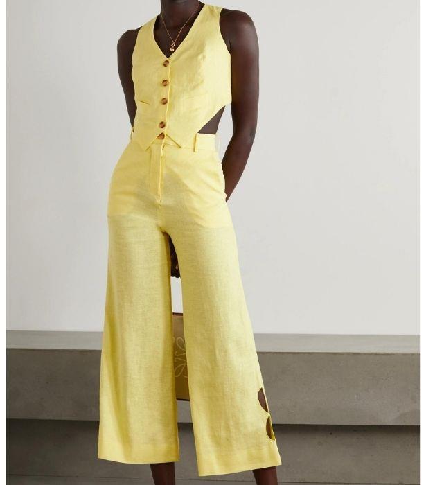 "**RACIL Johnny Cropped Linen-Blend Vest, $475 from [NET-A-PORTER](https://www.net-a-porter.com/en-us/shop/product/racil/clothing/cropped/johnny-cropped-linen-blend-vest/10163292707436696|target=""_blank"")**   **RACIL Jane Cropped Cutout Linen-Blend Wide-Leg Pants, $550, from [NET-A-PORTER](https://www.net-a-porter.com/en-us/shop/product/racil/clothing/wide-leg/jane-cropped-cutout-linen-blend-wide-leg-pants/10163292707436692|target=""_blank"")**"