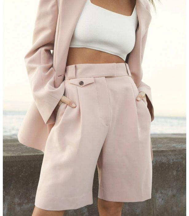 """**Ivy High Waisted Tailored Short in Rose, $240 from [Shona Joy](https://shonajoy.com.au/collections/shorts-pants/products/ivy-high-waisted-tailored-short-rose-dust?variant=39435852087430