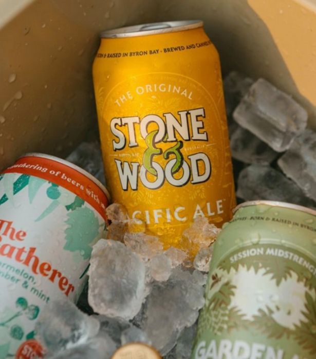 """**Stone & Wood** <br><br>  Born and bred in Byron Bay the independent B-Corp certified brewery has reduced their water and energy consumption rates in line with the most efficient 25% of the world's independent brewers. Plus, bottles and packaging materials are made from 70% and 50% recycled content.<br><br>   **Shop from [Stone & Wood](https://stoneandwood.com.au/ target=""""_blank"""") and [Dan Murphy's](https://www.danmurphys.com.au/search?searchTerm=Stone+%26+Wood target=""""_blank"""")**"""