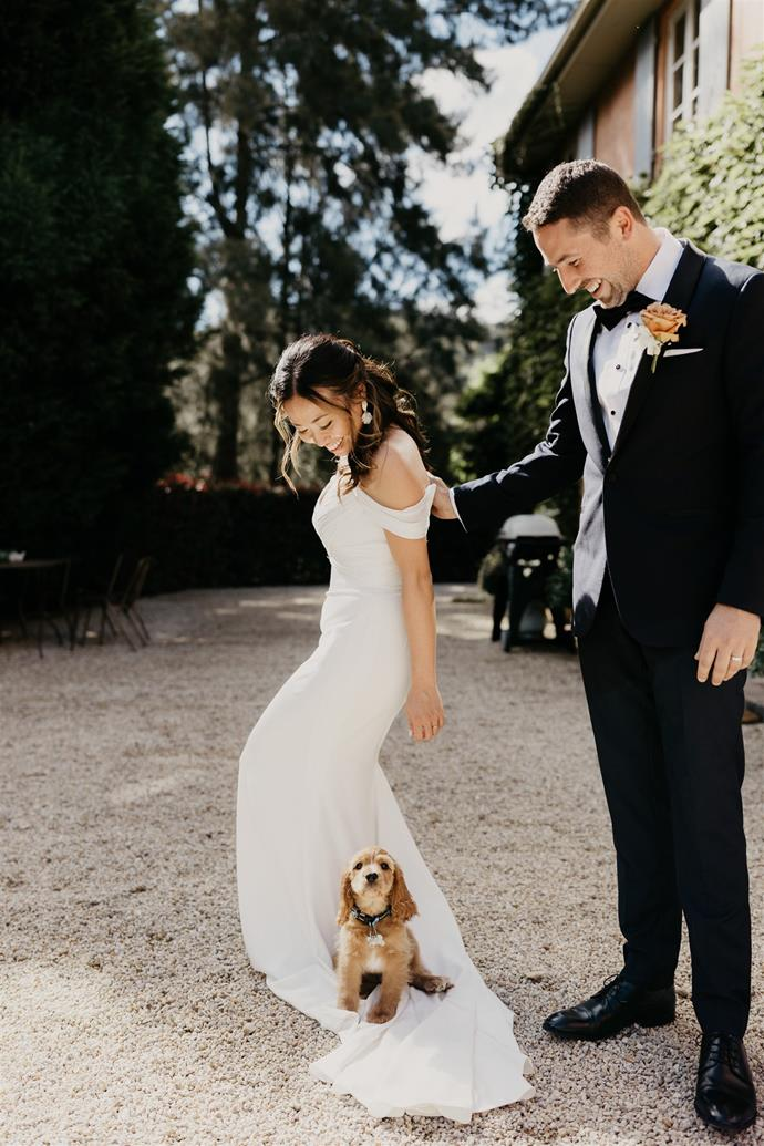 """""""We hadn't owned a pet together and got our puppy two weeks before the wedding. So, we were putting together the last touches on a wedding while toilet training our dog, Chase,"""" Shirley laughs.  [Photography: Hungry Hearts Co](https://hungryheartsco.com/