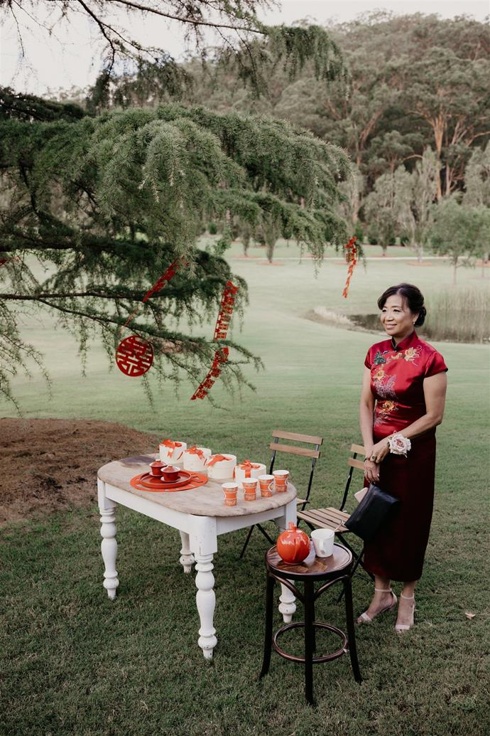 """""""We did a tea ceremony, because my background is Chinese,"""" says Shirley. """"My mum and sister organised it. It mainly served as a welcome to the family for Scott's family — my new in-laws — and a thank you for raising my partner and now we can call them mum and dad as well.""""  [Photography: Hungry Hearts Co](https://hungryheartsco.com/
