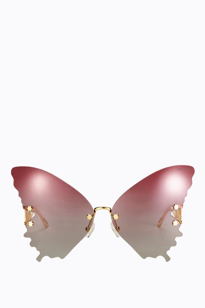 "**Dream Lover - Pink**, $150 at [Poppy Lissiman](https://poppylissiman.com/products/sunglasses/dream-lover-pink?region=au&gclid=CjwKCAjwzOqKBhAWEiwArQGwaKEaXCrrvD_pio0kFvYClwm3g7umTA7CkRtW55deKzR7aJcSwt0uPBoC3ywQAvD_BwE|target=""_blank""|rel=""nofollow"")"