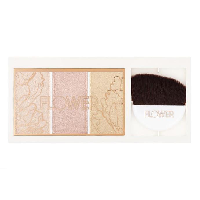 """Flower Shimmer & Strobe Highlighting Palette, $9.99 from [Chemist Warehouse](https://www.chemistwarehouse.com.au/buy/88499/flower-shimmer-strobe-highlighting-palette target=""""_blank"""" rel=""""nofollow"""")."""