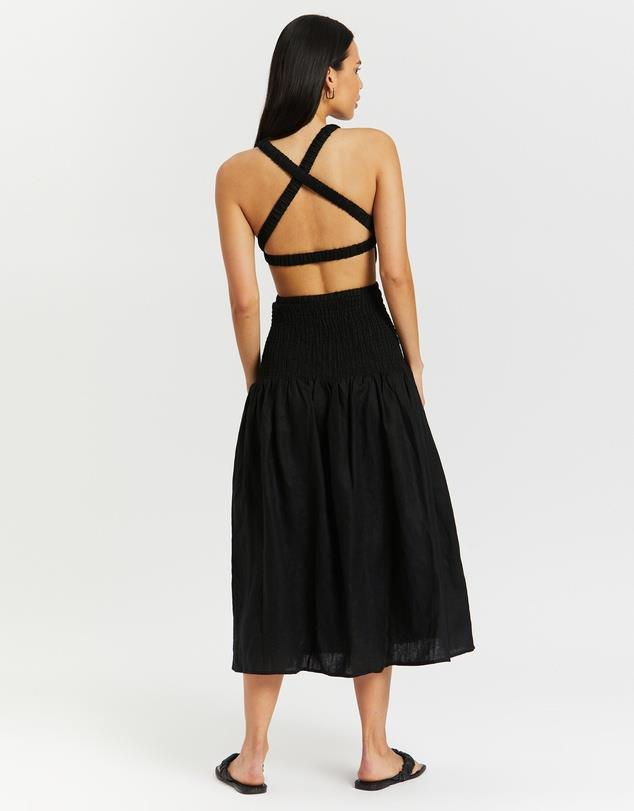 """Shirred Cross Back Maxi Dress, $170; at [THE ICONIC](https://www.theiconic.com.au/shirred-cross-back-maxi-dress-1327194.html