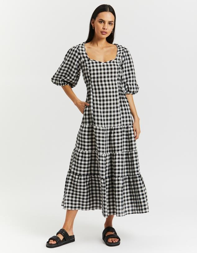 """Ruched Puff Sleeve Midi Dress, $190; at [THE ICONIC](https://www.theiconic.com.au/ruched-puff-sleeve-midi-dress-1327078.html