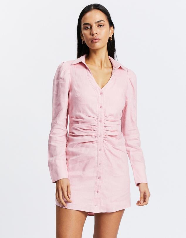 """Ruched Shirt Dress, $140; at [THE ICONIC](https://www.theiconic.com.au/ruched-shirt-dress-1316504.html