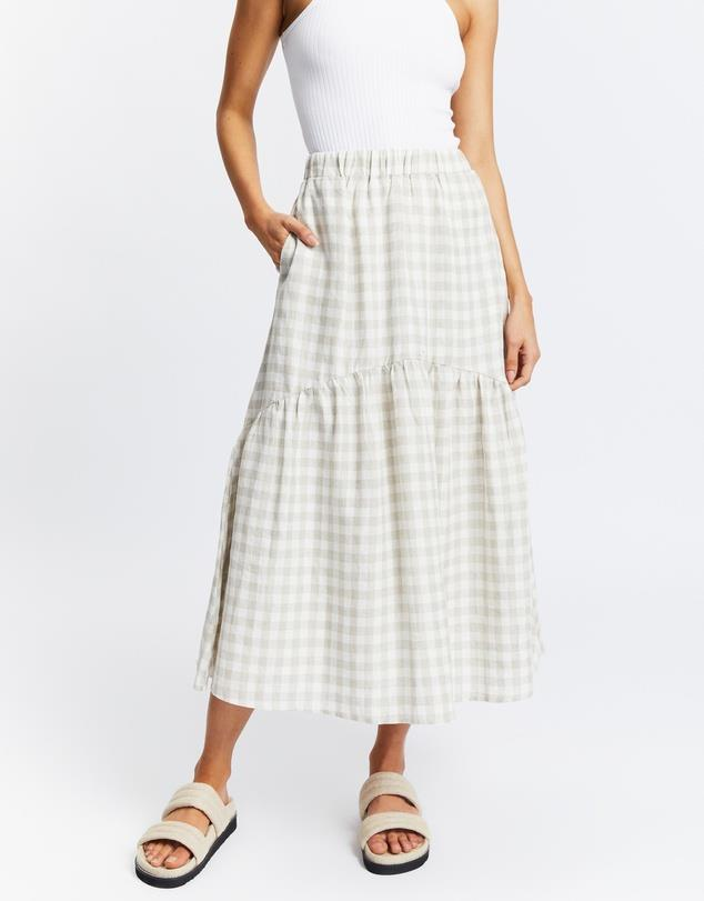 """Tiered Midi Skirt, $120; at [THE ICONIC](https://www.theiconic.com.au/tiered-midi-skirt-1327210.html