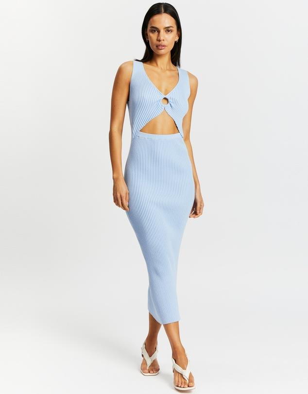 """Ring Detail Midi Dress, $150; at [THE ICONIC](https://www.theiconic.com.au/ring-detail-midi-dress-1251000.html