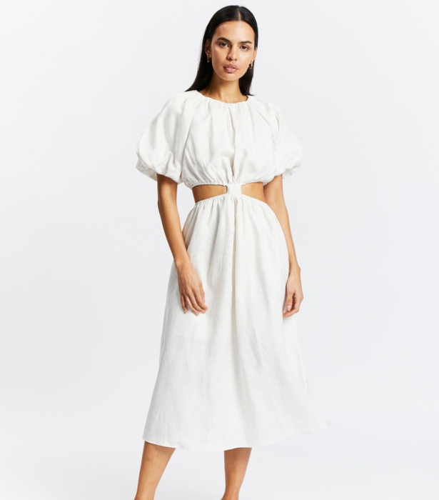"""**Aere Cut Out Linen Midi Dress, usually $190, [shop here](https://www.theiconic.com.au/cut-out-linen-midi-dress-1327046.html target=""""_blank"""")**"""