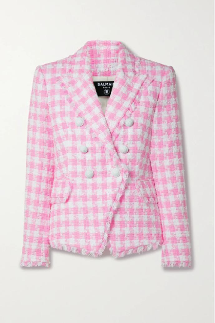 "**Balmain Frayed Checked Cotton-blend Tweed Blazer**, $3,531.26 at [NET-A-PORTER](https://www.net-a-porter.com/en-au/shop/product/balmain/clothing/blazers/frayed-checked-cotton-blend-tweed-blazer/11452292645946344|target=""_blank""|rel=""nofollow"")"