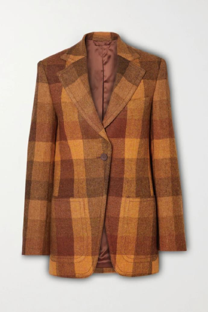 "**Acne Studios Checked Wool Blazer**, $1,400 at [NET-A-PORTER](https://www.net-a-porter.com/en-au/shop/product/acne-studios/clothing/blazers/checked-wool-blazer/11452292646767217|target=""_blank""|rel=""nofollow"")"