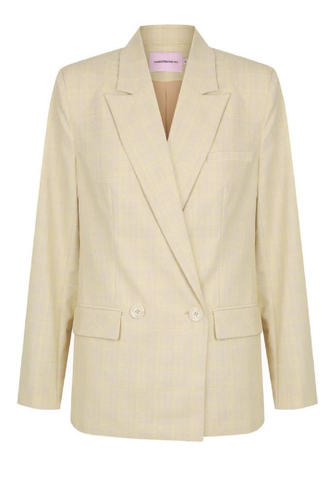 "**England Blazer Beige Check**, $174.50 at [Hansen & Gretel](https://hansenandgretel.com/shop/clothing/tops/england-blazer-beige-check/|target=""_blank""|rel=""nofollow"")"