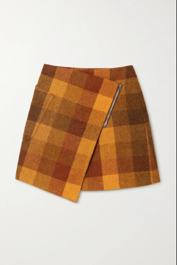 "**Acne Studios Asymmetric Checked Wool Mini Wrap Skirt**, $760 at [NET-A-PORTER](https://www.net-a-porter.com/en-au/shop/product/acne-studios/clothing/mini/asymmetric-checked-wool-mini-wrap-skirt/11452292646767208?cm_mmc=Google-ProductSearch-AU--c-_-NAP_EN_AU_PLA-_-NAP+-+APAC+-+AU+-+GS+-+SSC+-+Catch-All+-+Clothing--Ad+group-_-__pla-685536774855_APAC&gclid=CjwKCAjwh5qLBhALEiwAioods6s1Z4RcOEJuJJh0VO6BuN8yjkMpKIrgykYzBabsO-28Kv1JERazIhoCc64QAvD_BwE&gclsrc=aw.ds|target=""_blank""|rel=""nofollow"")"