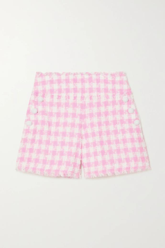 "**Balmain Frayed Gingham Cotton-blend Tweed Shorts**, $1,888.81 at [NET-A-PORTER](https://www.net-a-porter.com/en-au/shop/product/balmain/clothing/short-and-mini/frayed-gingham-cotton-blend-tweed-shorts/11452292645941241|target=""_blank""|rel=""nofollow"")"