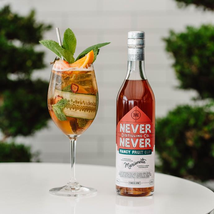 """[Never Never Distilling Fancy Fruit Cup](https://neverneverdistilling.com.au/products/fancy-fruit-cup target=""""_blank"""" rel=""""nofollow"""") <br><br>  As the name implies, this drink is delicious medley of fruit, liqueur, spices and gin —think of it like an Australian take on a British garden party classic. Made with the brands award-winning Triple Juniper Gin, it's both sweet and dry, complex yet subtle all at once. An absolute winner.  <br><br>  **[Shop at:](https://neverneverdistilling.com.au/products/fancy-fruit-cup target=""""_blank"""" rel=""""nofollow"""")** Never Never Distilling Co."""