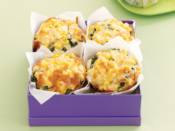 Corn, Spinach and Bacon Muffins