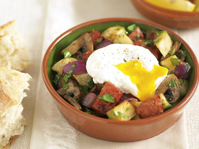 """**[Chorizo hash with poached eggs](https://www.womensweeklyfood.com.au/recipes/chorizo-hash-with-poached-eggs-25431