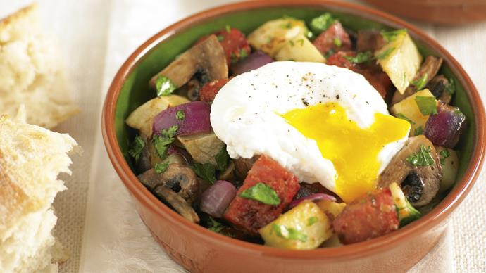 Chorizo Hash with Poached Eggs