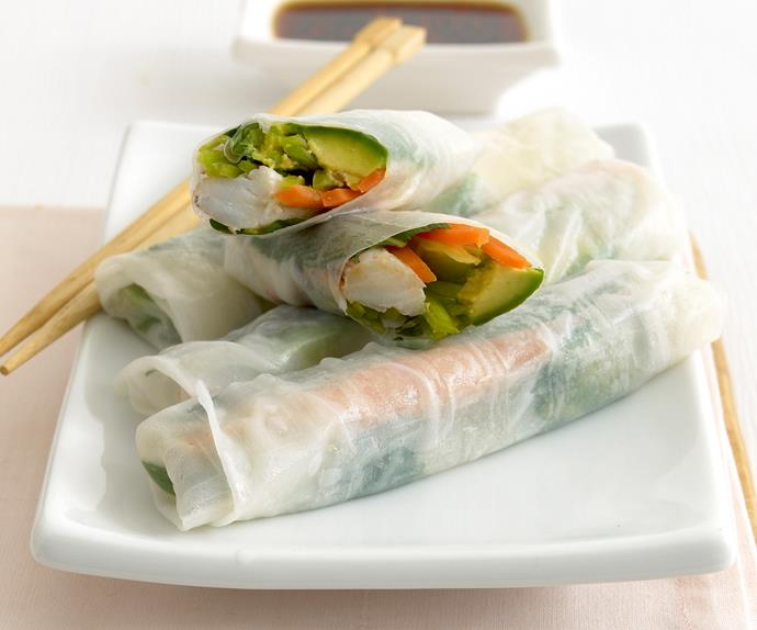 avocado and crab rice-paper rolls