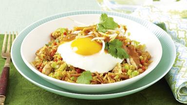 Satay chicken nasi goreng
