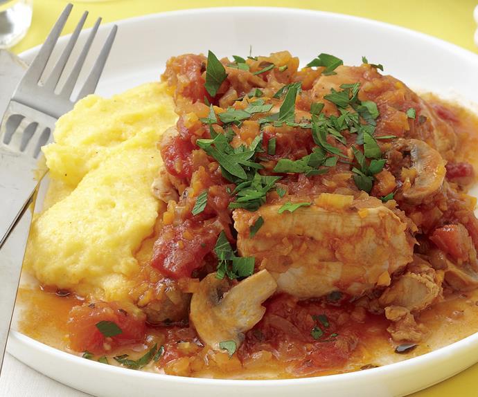 Chicken Cacciatore with Cheesy Polenta