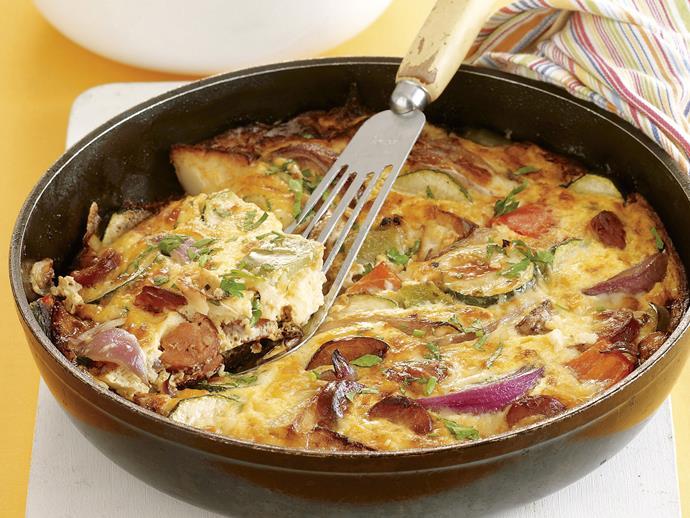 "**[Chorizo and vegetable frittata](https://www.womensweeklyfood.com.au/recipes/chorizo-and-vegetable-frittata-22079|target=""_blank"")**"