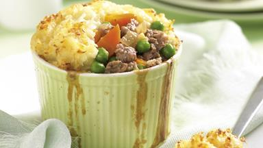 Lamb and pea pie with cauliflower mash