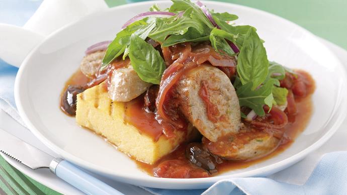 Sausages with Grilled Polenta