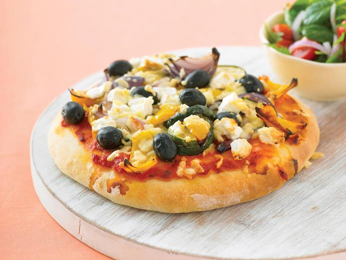 "When you're after a tasty snack in a hurry, look no further than this [scone pizza](https://www.womensweeklyfood.com.au/recipes/scone-pizza-22170|target=""_blank""). Topped with grilled vegetables, it fills tummies and contributes to the 5-a-day quota."