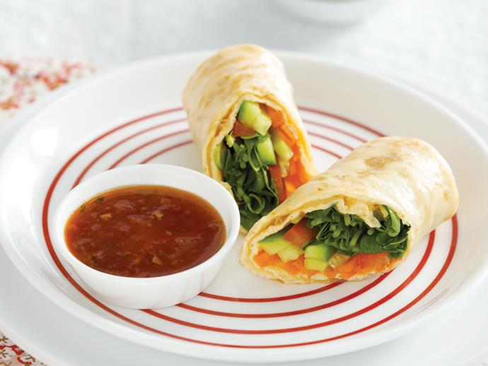 """**[Rice paper omelette rolls](https://www.womensweeklyfood.com.au/recipes/rice-paper-omelette-rolls-27993