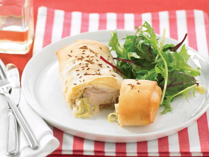 """These tasty [chicken and leek parcels](https://www.womensweeklyfood.com.au/recipes/chicken-and-leek-parcels-26780
