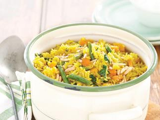 Curried Pumpkin, Silverbeet and Almond Pilaf
