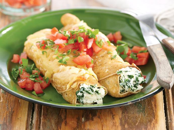 """**[Spinach and ricotta crepes](https://www.womensweeklyfood.com.au/recipes/spinach-and-ricotta-crepes-21776