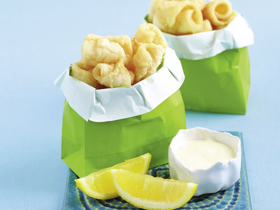 """**[Calamari with lemon mayonnaise](https://www.womensweeklyfood.com.au/recipes/calamari-with-lemon-mayonnaise-26192