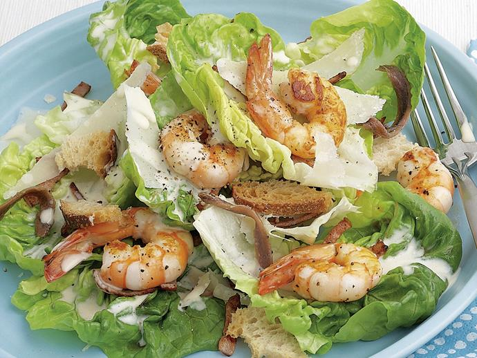 "**[Prawn caesar salad](https://www.womensweeklyfood.com.au/recipes/prawn-caesar-salad-21894|target=""_blank"")**  Chicken is usually added to this classic salad to turn it from a side dish into a meal. We've created a prawn caesar for something absolutely spectacular."