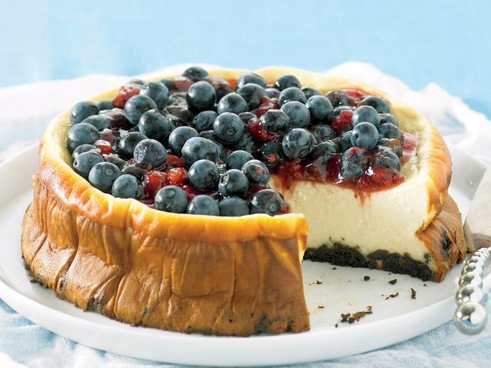 "Rich, smooth and creamy, sink your spoon into a thick slice of this decadent [baked ricotta cheesecake](https://www.womensweeklyfood.com.au/recipes/baked-ricotta-cheesecake-26212|target=""_blank""). Topped with sweet, juicy blueberries, it is a beautiful dessert all your guests will enjoy."