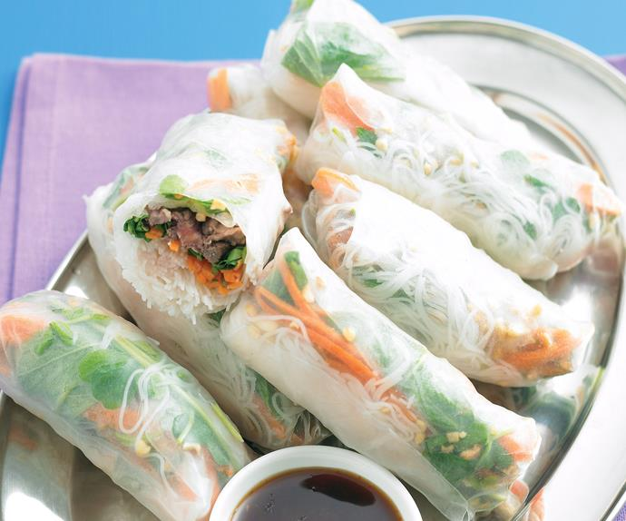 Night market faves - Minted beef rice paper rolls