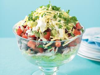Pantry Standbys beans - Open a can - Mexican Layered Salad
