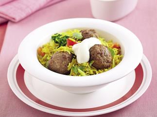 Rice to the rescue - Indian meatball pilaf