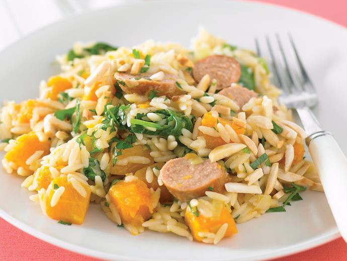"**[Sausage, pumpkin and leek risoni](https://www.womensweeklyfood.com.au/recipes/sausage-pumpkin-and-leek-risoni-21551|target=""_blank"")**"