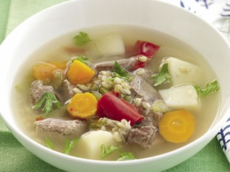 Speed it up! Chunky beef and barley soup