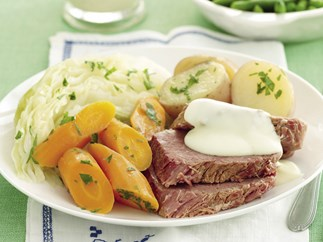 Speed it up! Corned beef with mustard sauce