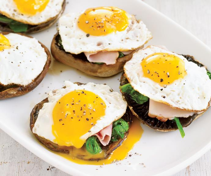 Grilled Mushrooms with Ham