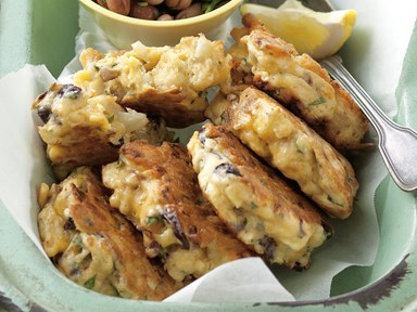 Cauliflower, parsley and olive fritters