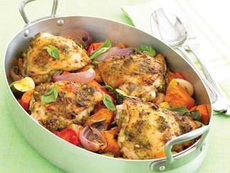 Pesto Chicken with Roasted Vegies