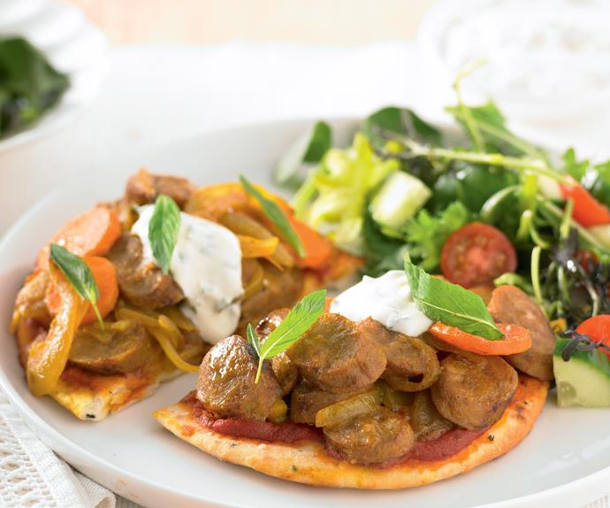 Curried Sausages on Naan