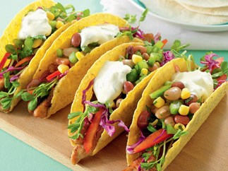 Turkey, Coleslaw and Bean Tacos