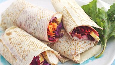 Beetroot and chicken wraps