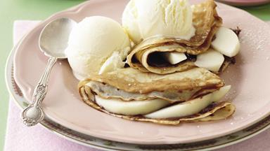 Choc hazelnut and pear crepes